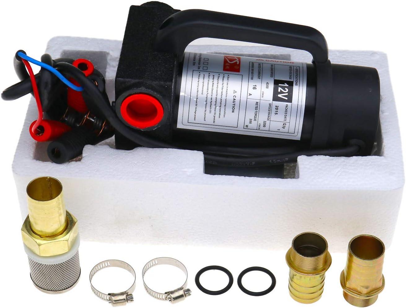 ENET Set von 200W 42L//min Diesel Fluid Extractor Electric Transfer DC 12V Kraftstoffpumpe Hochgeschwindigkeits-Kraftstoffpumpe Kit