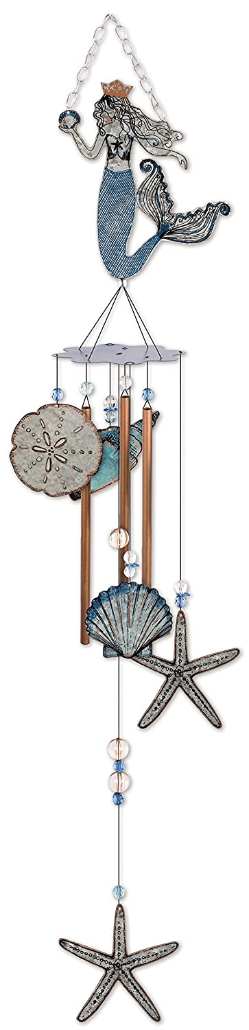Sunset Vista Designs 92453 Mermaid Metal Wind Chime, Seashells