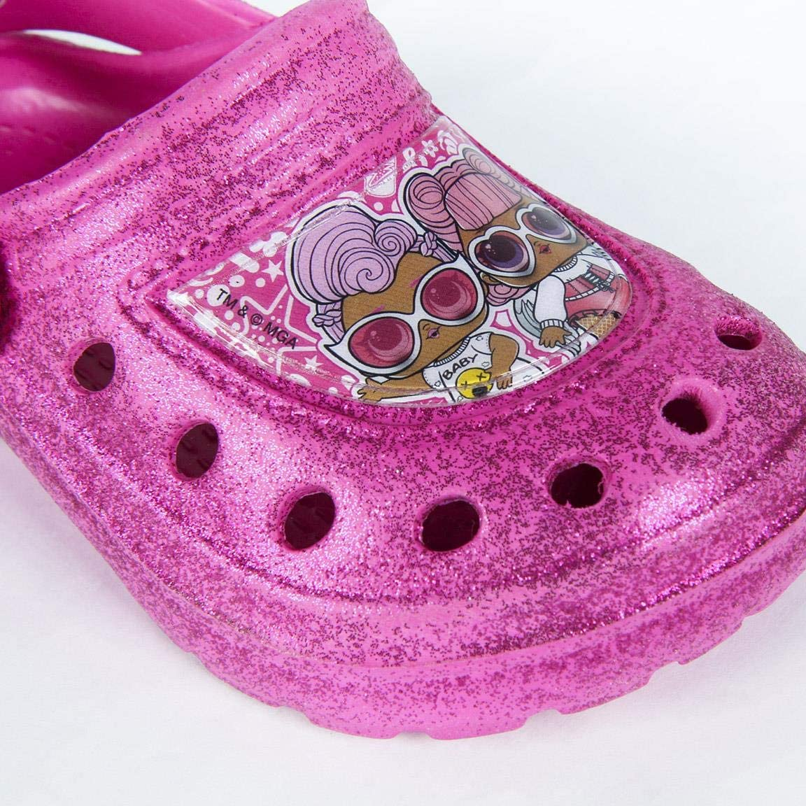 L O L Surprise Sizes UK 6 to 13 Gift for Girls Girls Classic Slip On Clogs Crocs Lightweight Garden Pool Beach Holiday Sandals Incredible Summer Shoes Beautiful Glitter Design