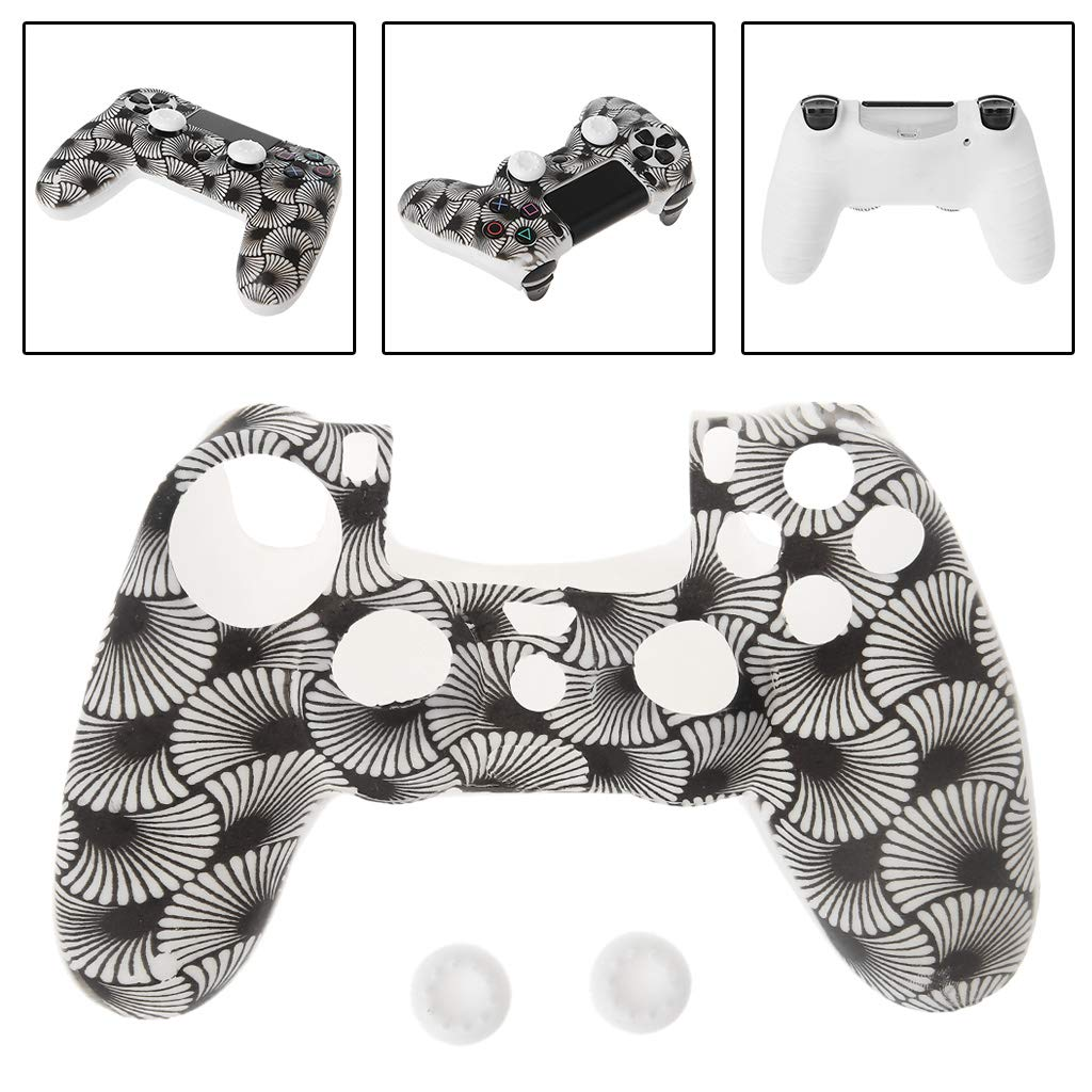 Feamos Silicone Shell for PS4 Controller Sector Pattern with 2 White Joystick Caps for Gamers Men Christmas Gift