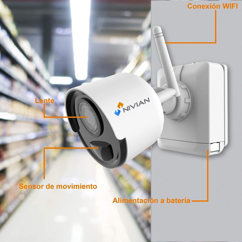 Nivian NV-KIT61-4C2M-BAT KIT Videovigilancia Wifi con c/ámaras bater/ía