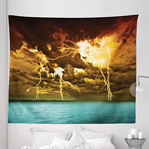 Lunarable Nature Tapestry King Size, Storm Over The Lake with Large Rain Clouds Miracle Solar with Cloudscape, Wall Hanging Bedspread Bed Cover Wall Decor, 104 X 88 , Blue Yellow