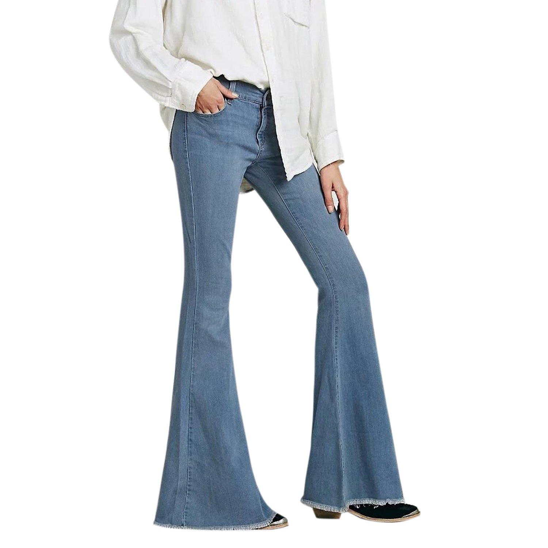 Jolisson Womens Bell-Bottom Jeans Hipster Stretch Denim Trousers Work Wear Pants Boot Cut Jeggings