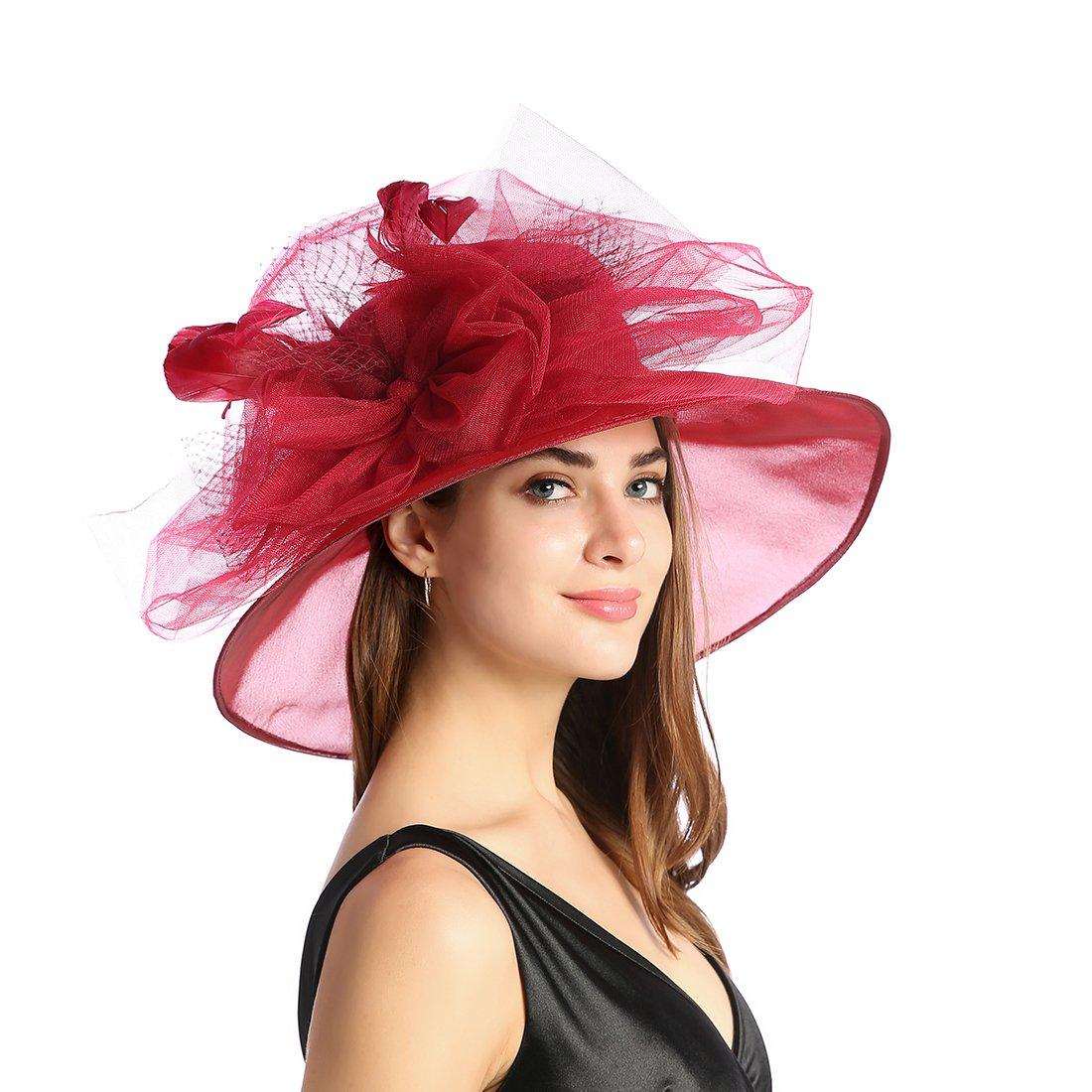 Women's Organza Church Kentucky Derby Fascinator Tea Party Wedding Hat (Red Feathers) by MissCynthia