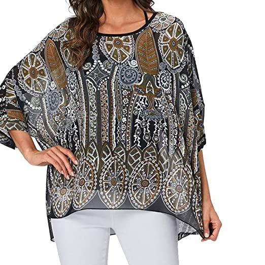 d224197b7c Amazon.com  Usstore Women Sunscreen Plus Size Tops Summer Fashion Leopard  Dot Printed Thin Cool Loose Beach Cover-Up Bat-Shirt (XL