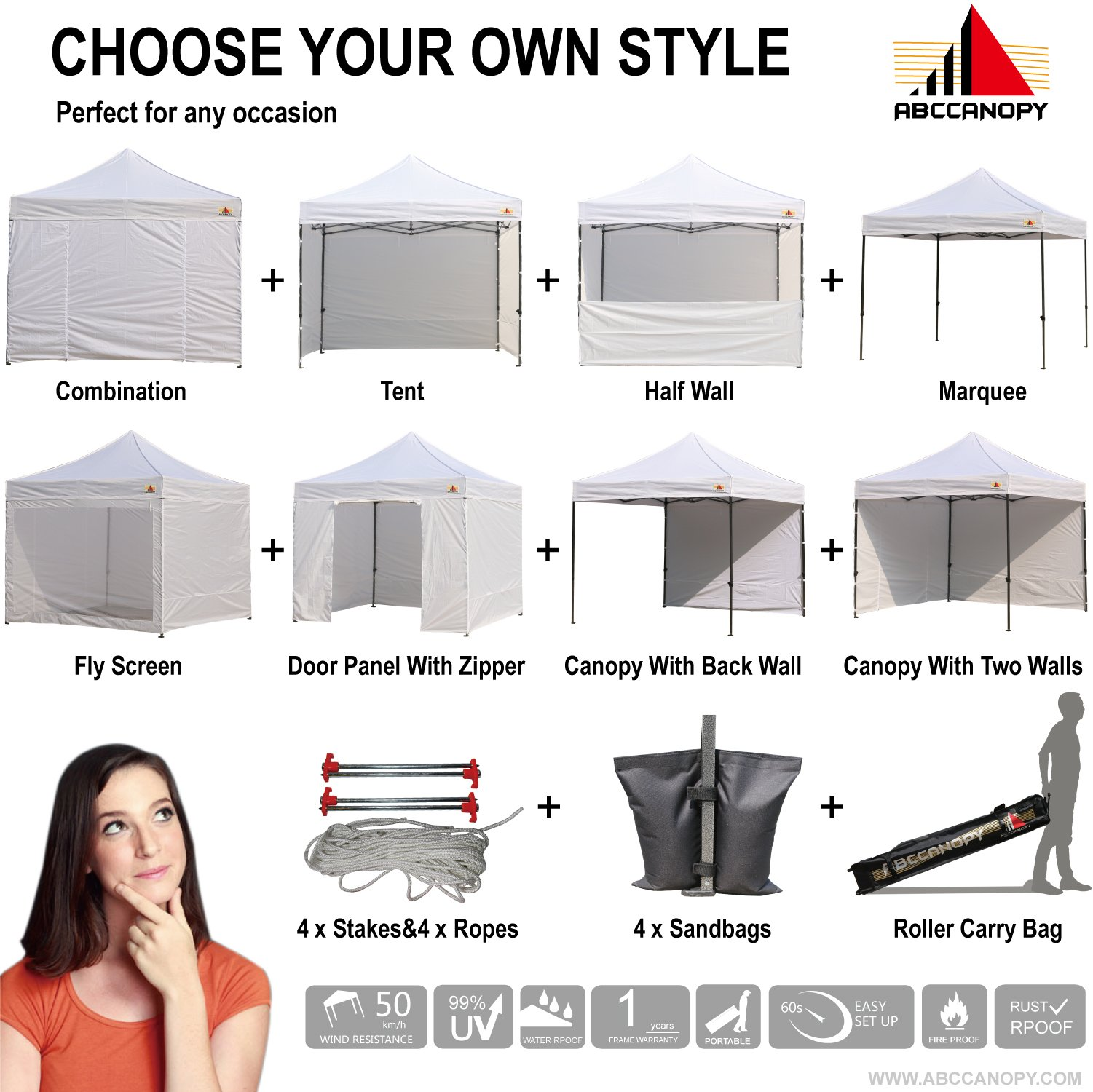 Abccanopy Deluxe 10x10 Instant Canopy Craft Display Tent Portable Booth Market Stall with Wheeled Carry Bag , Bonus 4x Weight Bag by ABCCANOPY (Image #3)