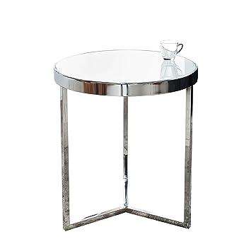 Design Beistelltisch Original ASTRO 50 Cm Chrom / Weiß Couchtisch Tisch  Glastisch