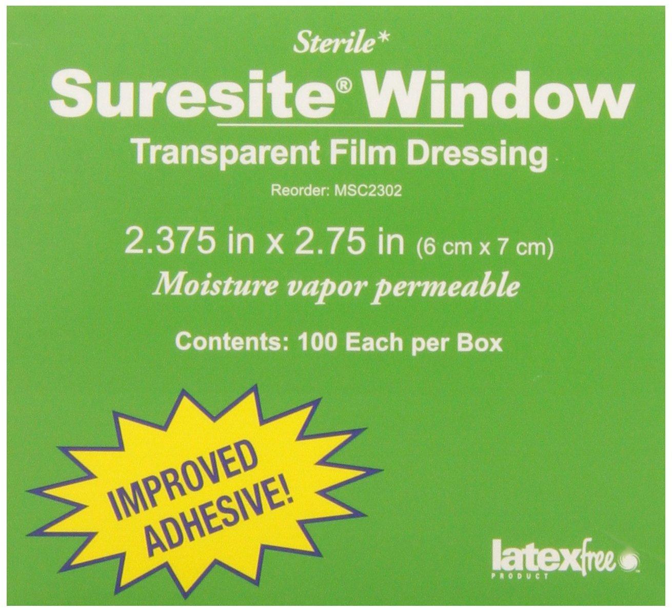 Medline MSC2302 Suresite Window Transparent Dressings, 2.37'' x 2.75'' (Pack of 100) by Medline