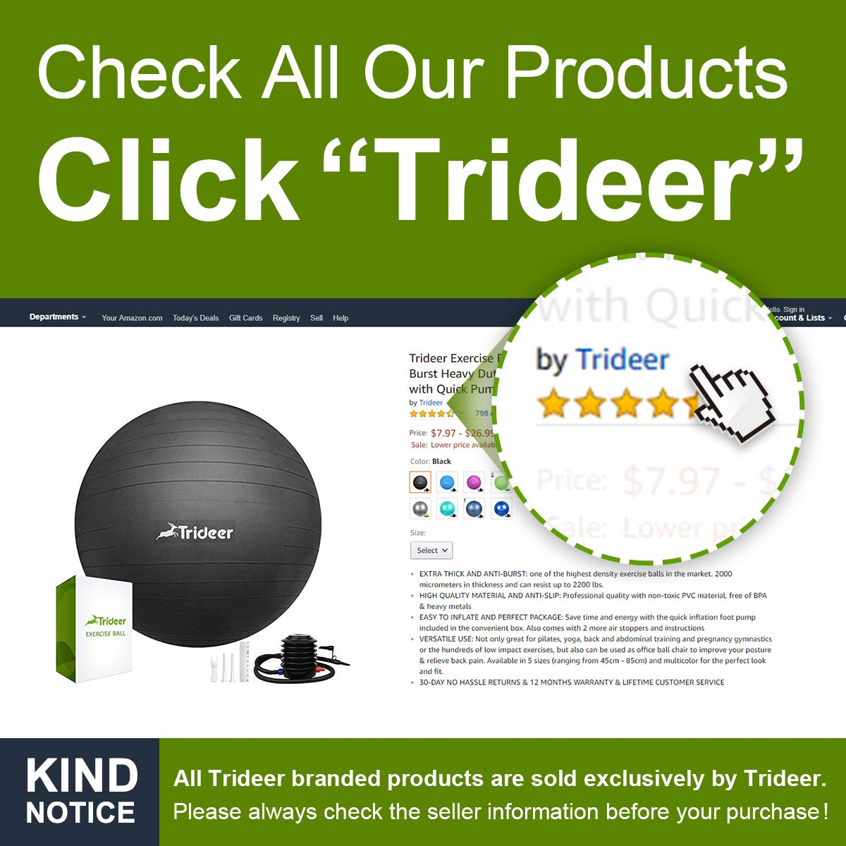 Trideer Exercise Ball (Multiple Color), Yoga Ball, Birthing Ball with Quick Pump, Anti-Burst & Extra Thick, Heavy Duty Ball Chair, Stability Ball Supports 2200lbs by Trideer (Image #8)