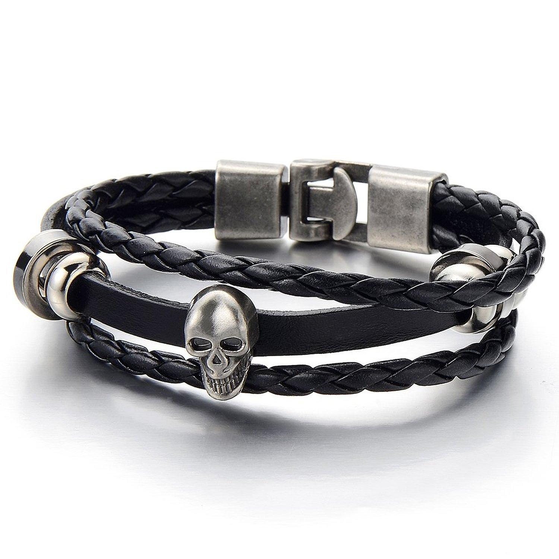 Mens Women Skull Black Braided Leather Bracelet Multi-strand Leather Wristband Wrap Bracelet COOLSTEELANDBEYOND MB-728-CA