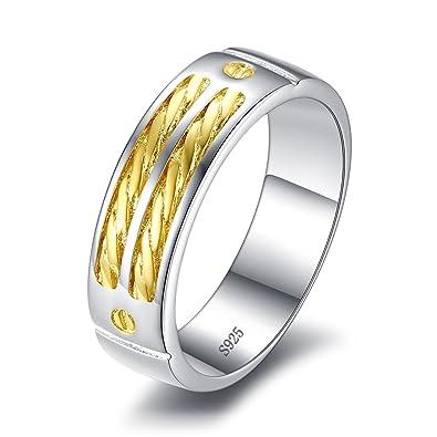 Jewelrypalace Anillo de aniversario de dos tonos de la boda de la plata esterlina de la mujer 925 oro amarillo 18K plateado: Amazon.es: Joyería
