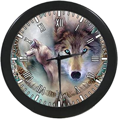 UlanLi wolf Black Round Quartz Wall Clock 9.65 inch