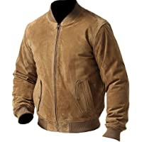 coolhides Men's Fashion Suede Leather Bomber Jacket