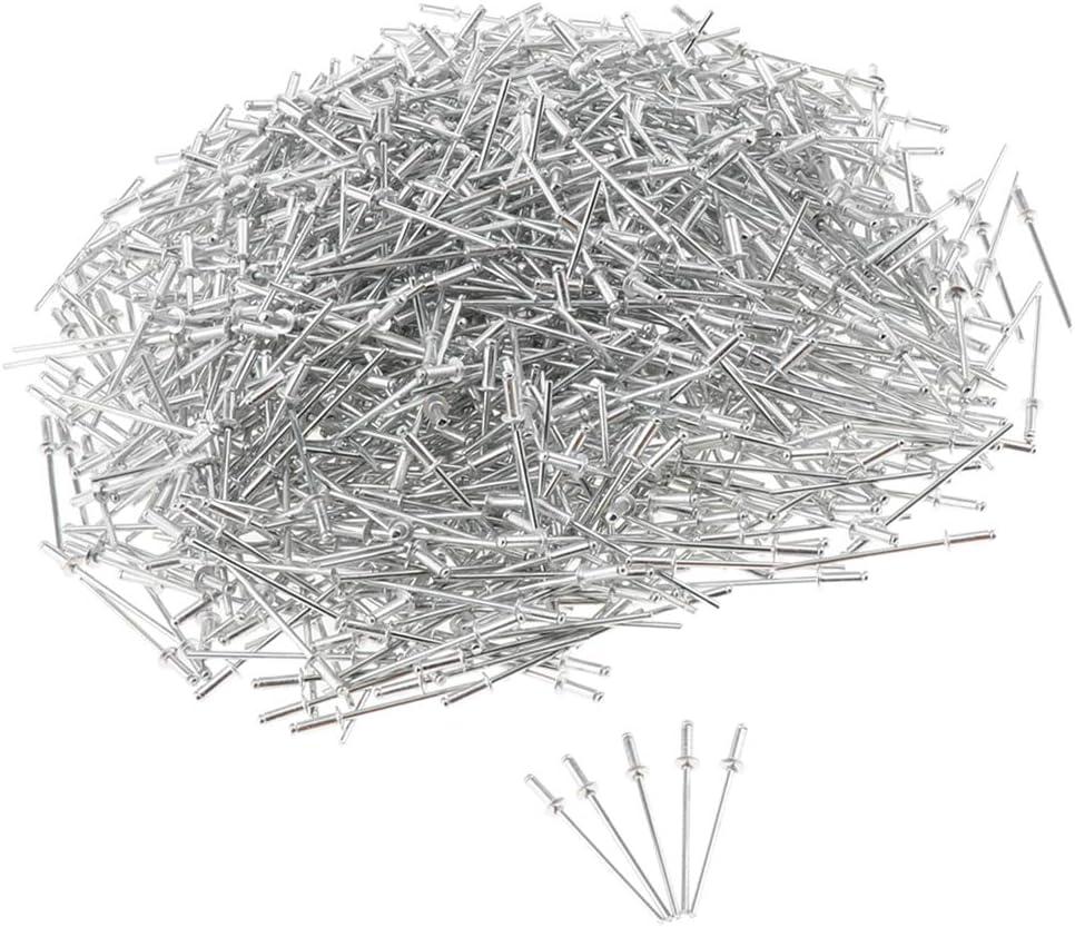 Shiwaki 1000 Pack Cabeza DE LA C/úpula Pop Rivets Abierto Ciego Aluminio 3mm