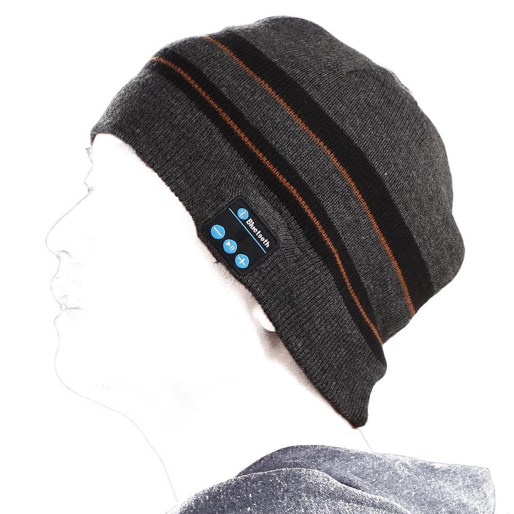 Andoer Bluetooth Music Soft Warm Beanie Hat Cap with Stereo Headphone Headset Speaker Wireless Mic Hands-free for Men Women Gift-Gray and black