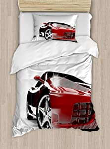 Ambesonne Teen Room Duvet Cover Set, Modern Automotive Vivid Toned Car Back View Prestige Passion Image, Decorative 2 Piece Bedding Set with 1 Pillow Sham, Twin Size, Black Ruby