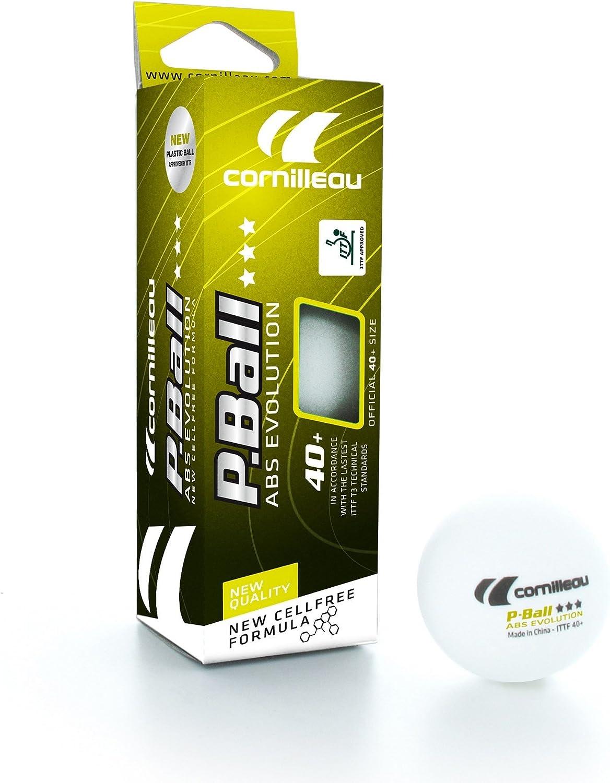 Cornilleau Unisex ITTF plástico ABS evolución 3Star Pelotas de Tenis de Mesa (competición (Pack de 3), Color Blanco, Talla única