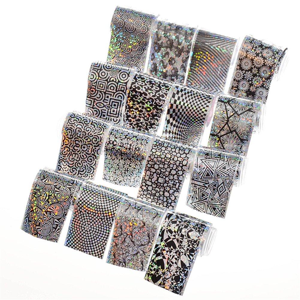 Born Pretty 15Pcs Nail Foils Holographique Laser Coloré Nail Art Manucure Sticker 4 * 13cm