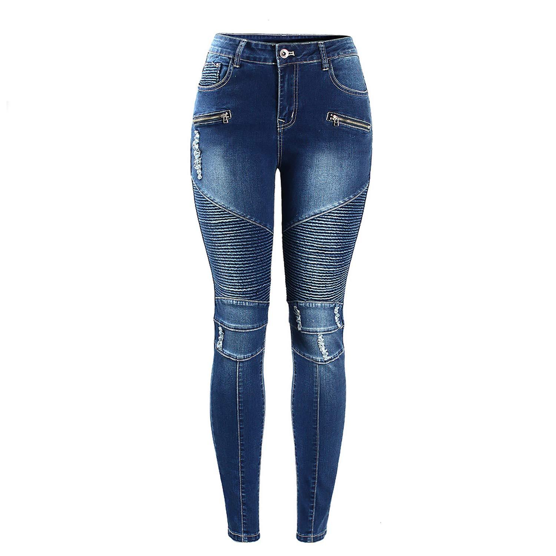 Joyhul 2077 Women`s Motorcycle Biker Zip Mid High Waist Stretch Denim Skinny Pants Motor Jeans for Women
