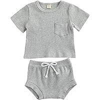 BemeyourBBs Nyfödd Baby Pojkar Sommar Kort Set Kortärmad Toppar Shorts Bloomer Byxor 2 st Baby-kläder