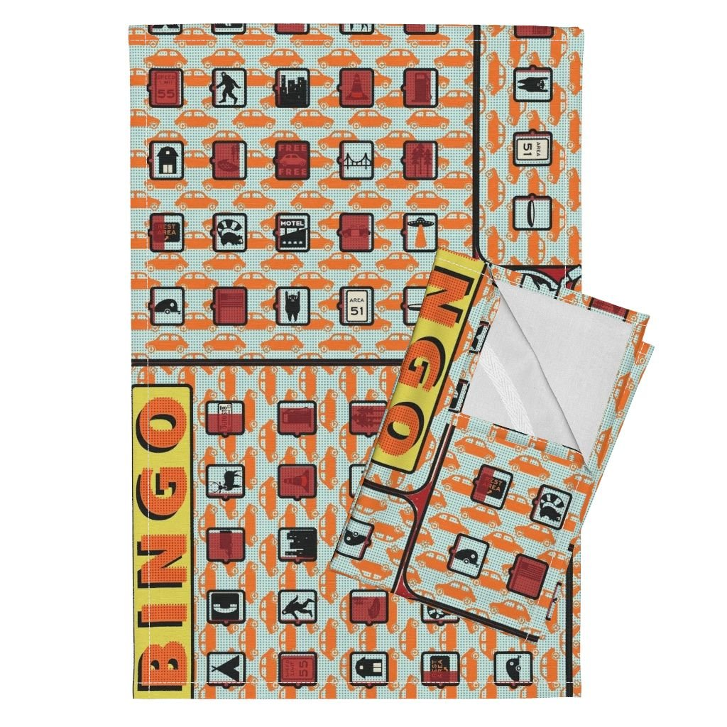 Roostery Highways Tea Towels Road Trip Bingo! by Thirdhalfstudios Set of 2 Linen Cotton Tea Towels by Roostery