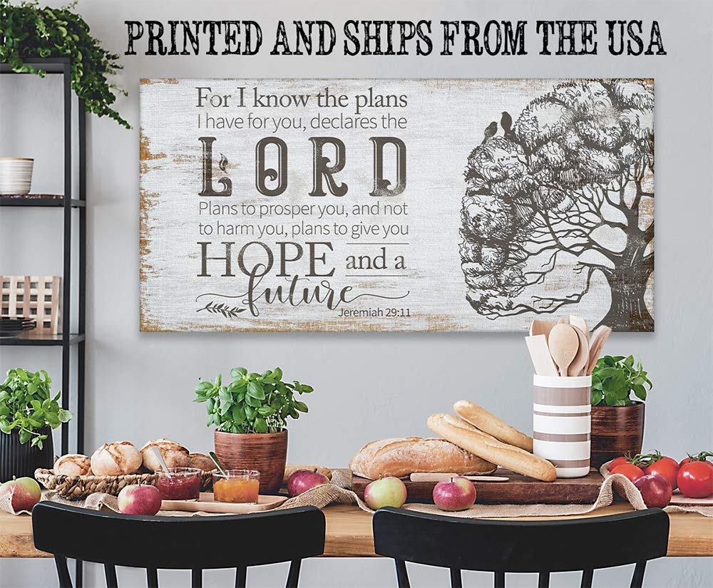 Perfect Inspirational Home Decor Large Canvas Wall Art - Stretched on a Wood Frame For I Know The Plans Makes a Great Housewarming//Thoughtful Gift Under $50 Ready to Hang Not Printed on Wood