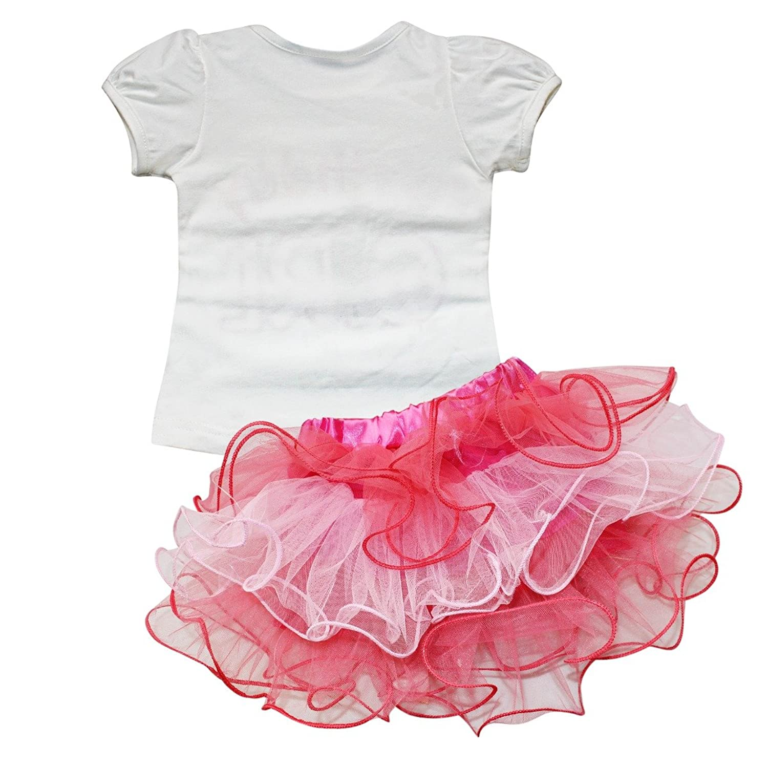IEFiEL Infant Baby Girls 2 Pieces Outfit Sets Top T Shirt Tutu Skirt Party Clothes Set Amazoncouk Clothing