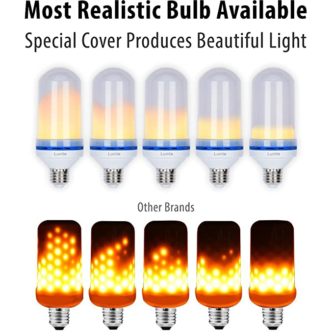 Lunite LED Flame Effect Light Bulb, #1 Realistic Flickering Fire Lighting |  Simulated 1.3K True Fire Color, Moving Dancing Flicker Flaming | E26  Compatible ...