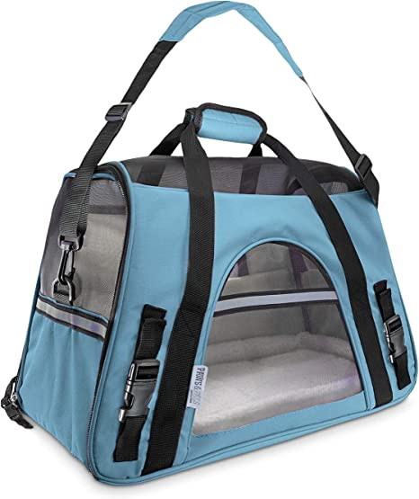 Amazon Com Paws Pals Airline Approved Pet Carrier Soft Sided Carriers For Small Medium Cats And Dogs Air Plane Travel On Board Under Seat Carrying Bag With Fleece Bolster Bed For Kitten Cat