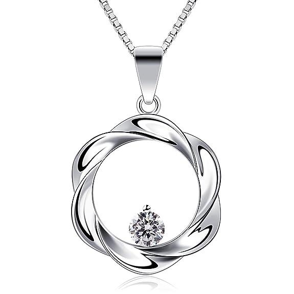 B.Catcher Collier en Argent 925 Pendentif en anneau Guirlande Zirconium cubique Femmes bijoux Cadeau parfait élégant Saint-Valentin