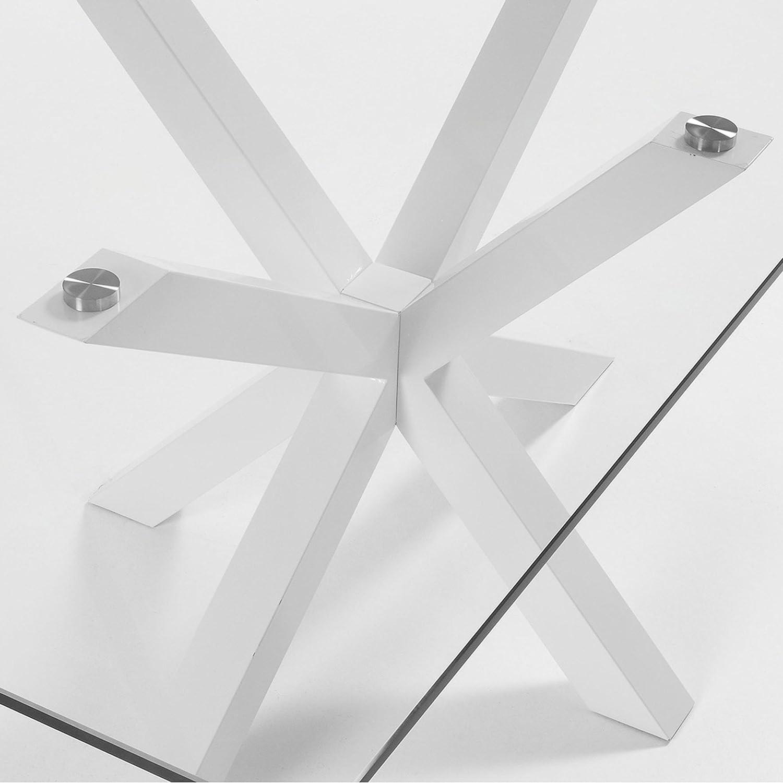 Kave Home Mesa Argo 200 x 100 cm epoxy Blanco y Cristal Transparente