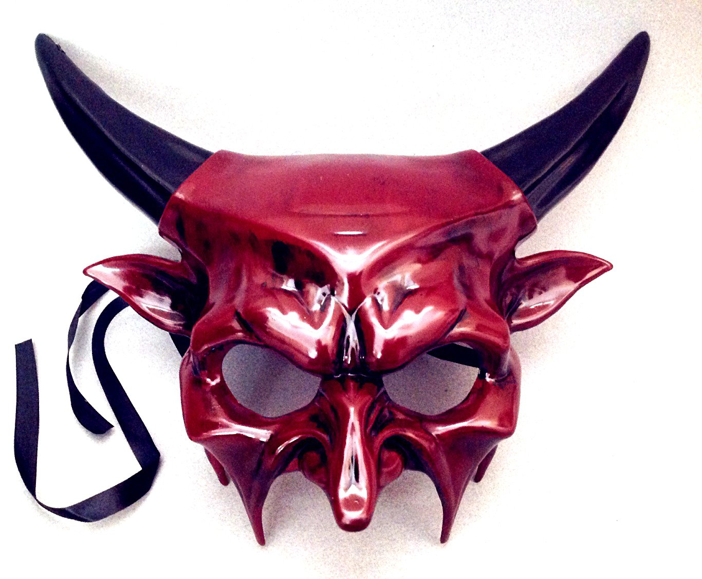 MasqStudio Horned Devil Mask Animal Masquerade Halloween Cosplay Haunted House Party mask Art Wall Deco (Red) by MasqStudio