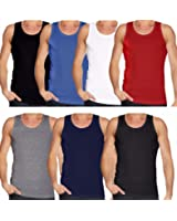 FK Styles® Mens Multi Pack Lot Basic Regular Fit 100% Cotton Vest Tank Top