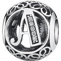 La Menars Charm Lettre de l'alphabet avec ziconia cubique Transparent Compatible pour Bracelets en Argent Sterling 925 Pendentif Collier de Pandora ou d'autres Marques européennes