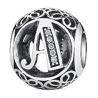 Breloque vintage avec lettre de l'alphabet - Zircon cubique - Pour bracelets de Pandora ou d'autres marques européennes