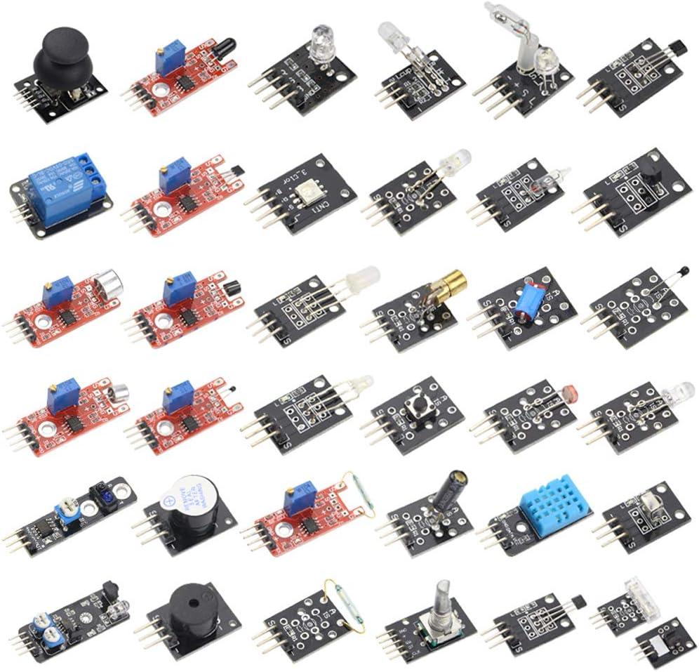 HiLetgo 37 Sensors Assortment Kit 37 Sensors Kit Sensor Starter Kit for Arduino Raspberry pi Sensor kit 37 in 1 Robot Projects Starter Kits for Arduino Raspberry pi