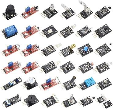 Hiletgo 37 Sensores Surtido Kit 37 Sensores Kit Kit De Inicio Sensor Kit Para Arduino Raspberry Pi Kit 37 En 1 Robot Proyectos Starter Kits Para Arduino Raspberry Pi Computers Accessories