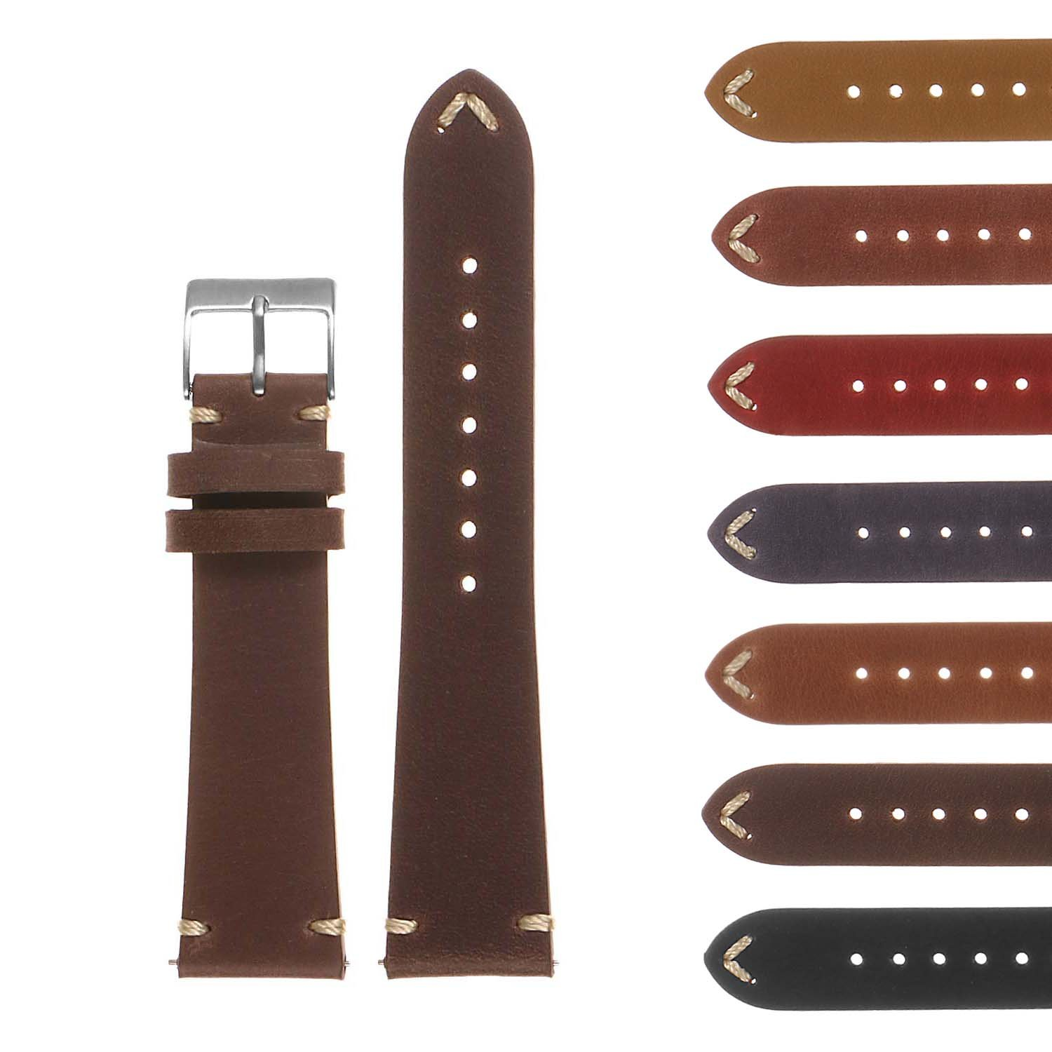 DASSARI Tribute II Quick Release Vintage Italian Leather Watch Band Strap 16mm 18mm 19mm 20mm 21mm 22mm 24mm 26mm