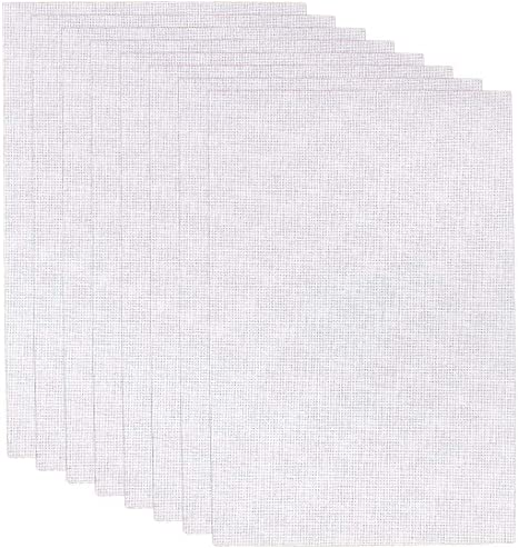 White 4 Pieces 12 by 18 Inch and 4 Pieces 12 by 12 Inch 8PCS Premium Aida Cloth 14 Count Cross Stitch Fabric