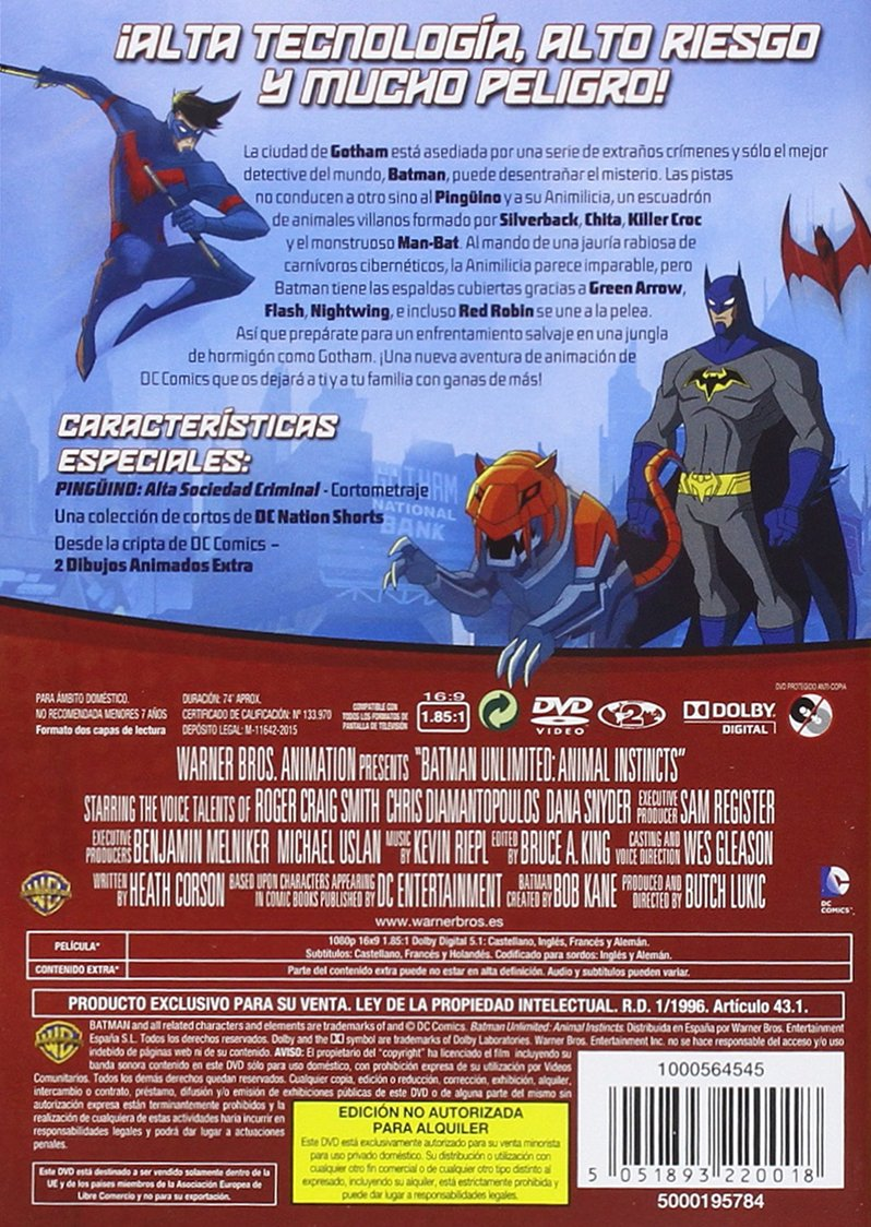 Batman Unlimited: Instinto Animal [DVD]: Amazon.es: Roger ...