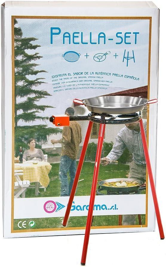 La Ideal - Paella Pulida +Hornillo Mod. 300+Juego 3 Patas - Tamaño : 36 Cm: Amazon.es: Hogar