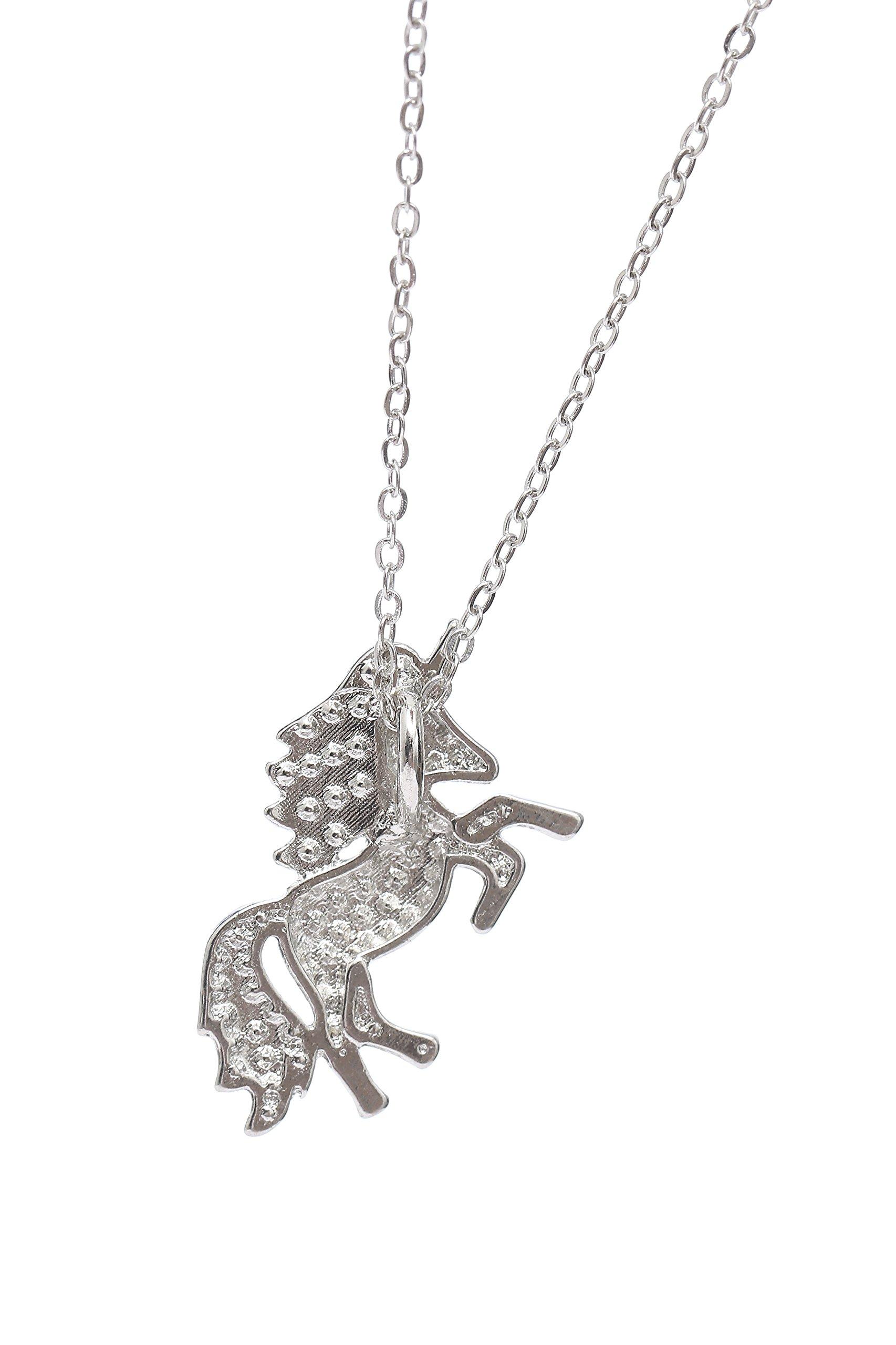 MUHU Fashion Rainbow Rhinestones Unicorn Pendant Necklace 10