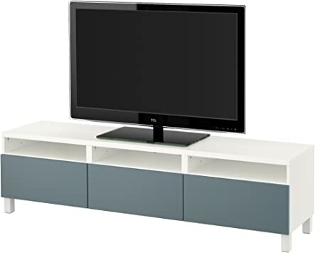 Zigzag Trading Ltd IKEA BESTA - Mueble TV con cajones Blanco/valviken Gris-Turquesa: Amazon.es: Hogar