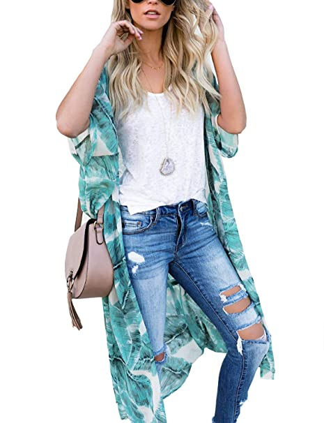 0f6f84a3caf26 Women's Open Front Bathing Suit Cover Ups Sheer Chiffon Floral Printed Kimono  Cardigan (Large)