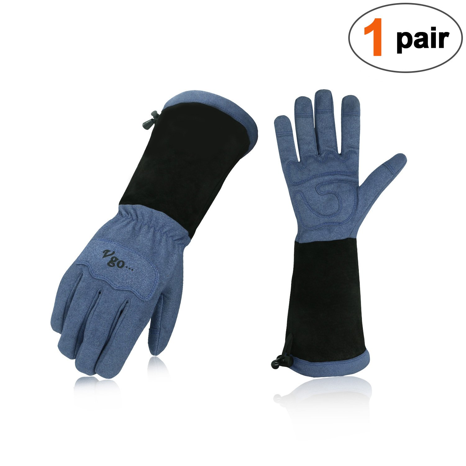Vgo... Men's Synthetic Leather Palm with Long Pig Split Leather Cuff Rose Garden Gloves (1Pair,Size L,Blue,SL6592M)