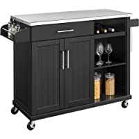 Yaheetech Kitchen Cart with Stainless Steel Top and Storage Cabinet, Kitchen Island on Wheels with Drawer & Open Shelves…