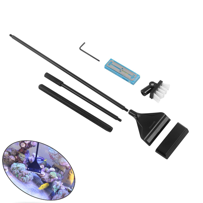QANVEE Aluminum Magnesium Alloy Algae Scraper Cleaner Brush With 10 Stainless Steel Blade for Aquarium Fish Reef Plant Glass Tank
