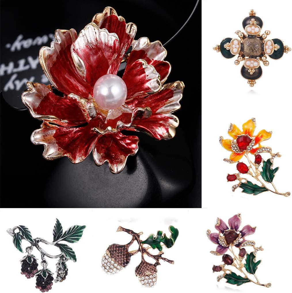 Yliquor Exquisite Three-Dimensional Brooch Sparkling Flowers Brooches Pin Clothing Accessories for Men Women Dress Shirt Backpack