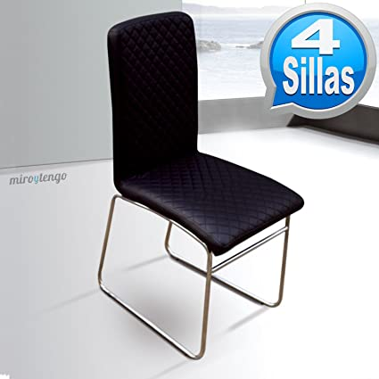 Abitti Pack 4 sillas Modernas con Pata Patin cromada y Polipiel ...