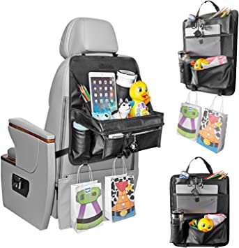 Car Back seat Organizer with Foldable Table Tray PU Leather Car Back seat Org...